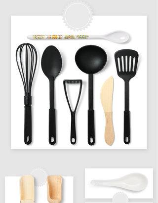 日常厨房用品锅铲勺子PSD元素