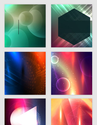 梦幻色彩几何线条光效矢量素材