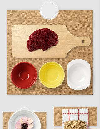 厨房餐盘砧板高清PSD素材