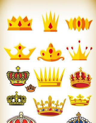 手绘卡通皇冠金冠素材