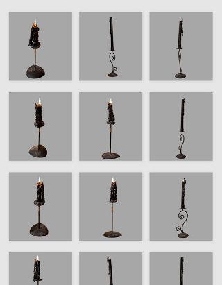 高清免抠欧式复古黑色蜡烛