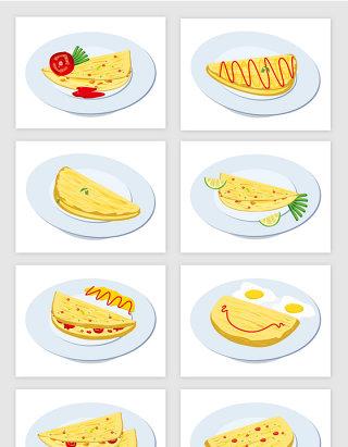 鸡蛋卷早餐食物矢量图形