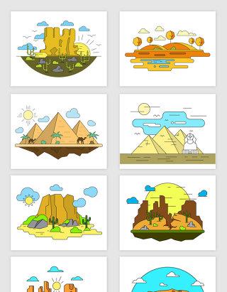 矢量手绘卡通埃及风景插画