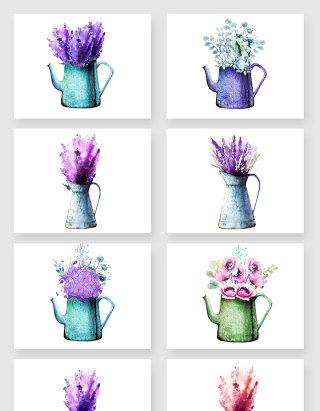 水彩手绘花瓶植物