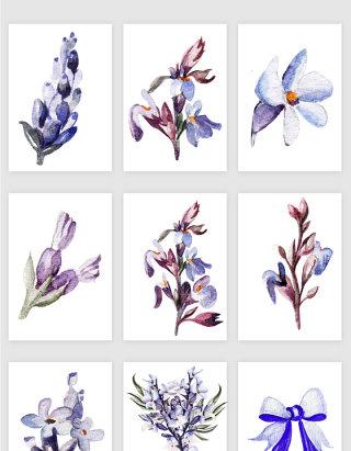 紫色手绘花卉矢量素材
