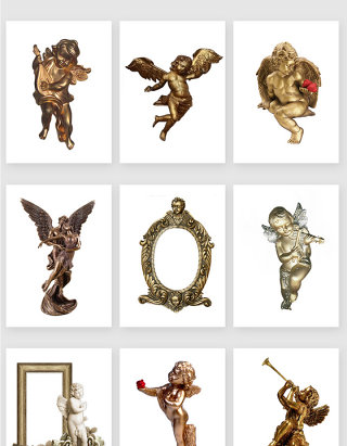 欧式复古天使铜像画框素材