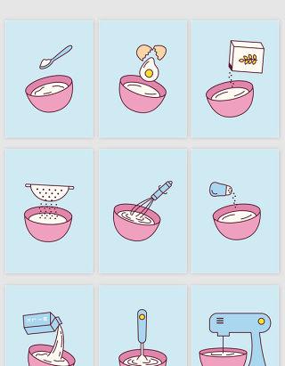 矢量卡通甜品搅拌制作流程