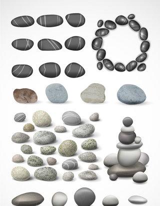 精美鹅卵石石头矢量素材
