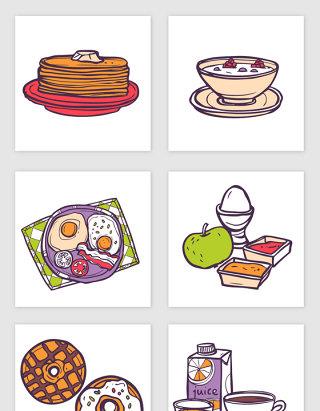 手绘线描早餐矢量素材