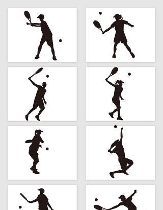 网球运动人物剪影矢量素材