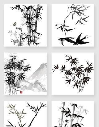 中国风水墨竹子png素材