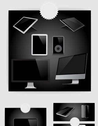 矢量黑色电脑手机平板样机
