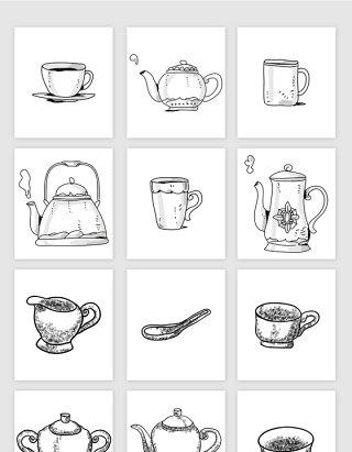 矢量手绘速写茶壶茶杯下午茶