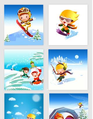 卡通滑雪小人矢量设计