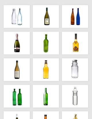 高清免抠酒瓶玻璃瓶png素材