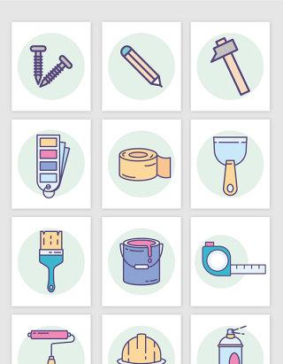 矢量卡通日常生活工具