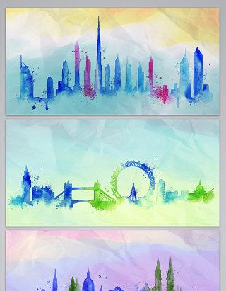 彩色水墨城市房地产背景