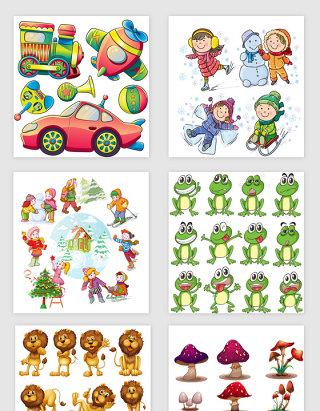 幼儿园卡通动物与儿童素材