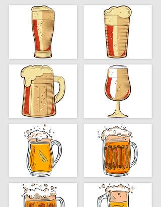手绘装满啤酒的杯子矢量素材