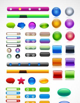 网页彩色精美水晶按钮