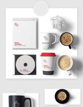 办公室咖啡CD智能贴图样机素材