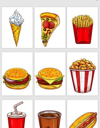 卡通风格西餐食物矢量素材