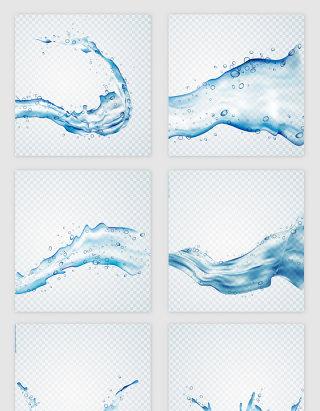 流动的蓝色水流矢量素材
