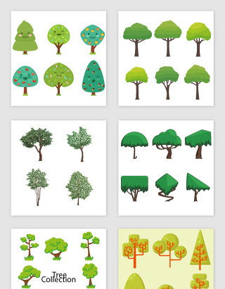 绿色卡通扁平化树木素材