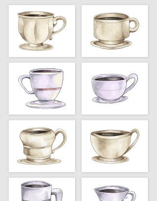 手绘水彩咖啡杯矢量素材