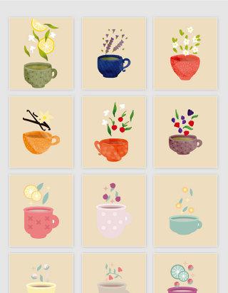 矢量手绘各种香茶水果茶