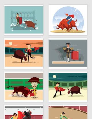 矢量卡通西班牙斗牛士插画