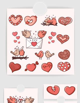 矢量可爱卡通情人节爱心小鸟