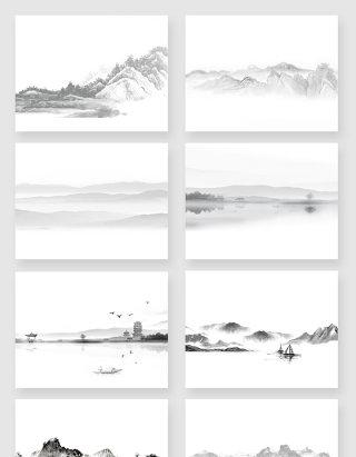 中国水墨云海风景素材