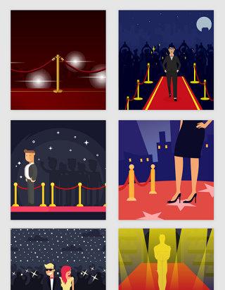 亮丽红毯舞台明星矢量素材