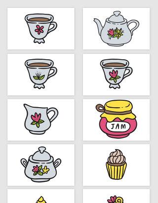 矢量手绘卡通下午茶纸杯蛋糕