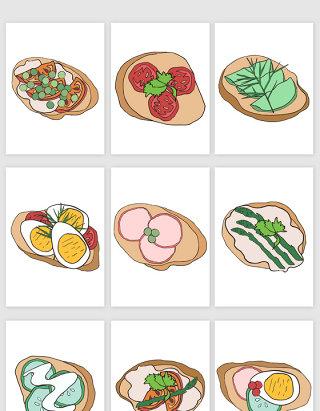 西红柿咸鸭蛋火腿片黄瓜片插画食物矢量图形