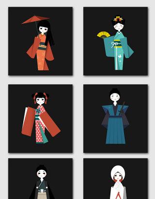 日本和服女孩设计素材