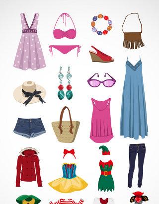 夏季女子服饰与配饰矢量素材