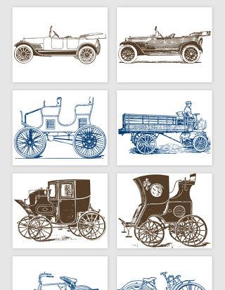 线描老式交通工具的矢量素材