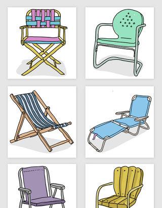 手绘家具椅子矢量素材