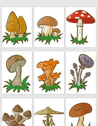 手绘风格蘑菇矢量元素