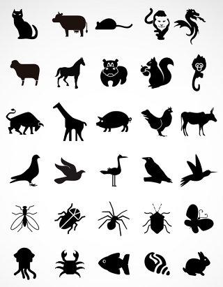 小动物剪影矢量元素