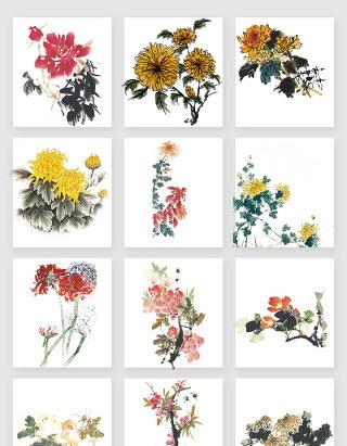 水墨鲜花花束素材