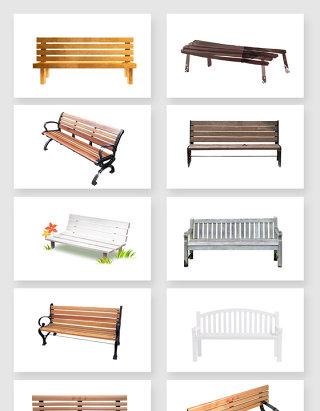 高清免抠公园长椅素材