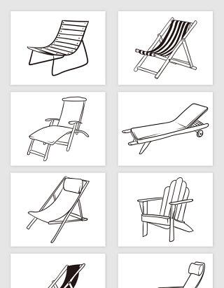 矢量手绘线描沙滩躺椅