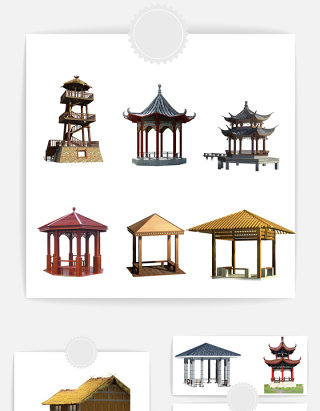 古代中式古亭元素