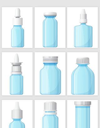 手绘蓝色玻璃瓶矢量元素