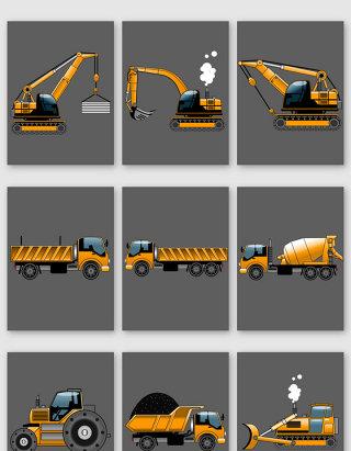 卡通工程车图案矢量素材
