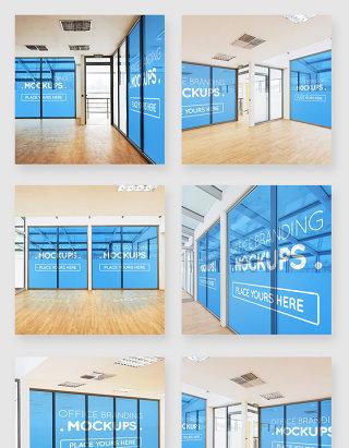 品牌企业办公室内墙壁贴图样机素材