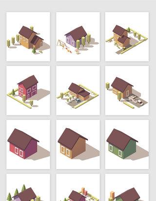 简约3D地标建筑矢量素材
